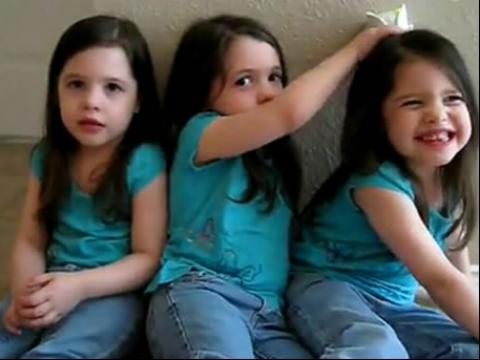 超萌系可爱三胞胎小美女